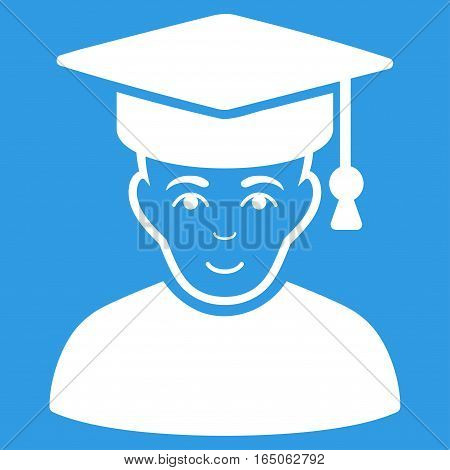 Professor vector icon. Flat white symbol. Pictogram is isolated on a blue background. Designed for web and software interfaces.
