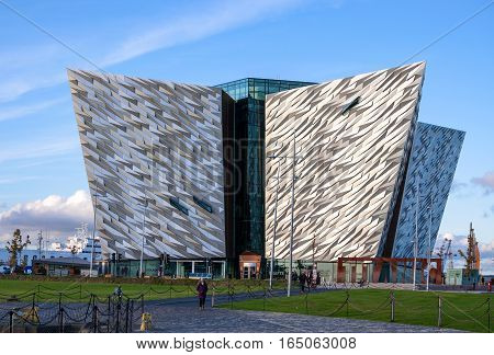 BELFAST, NORTHERN IRELAND, UK - OCTOBER 2, 2016: Titanic multimedia museum and visitors' information center in Belfast in sunset light.