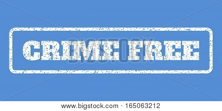 White rubber seal stamp with Crime Free text. Vector tag inside rounded rectangular banner. Grunge design and scratched texture for watermark labels. Horisontal emblem on a blue background.
