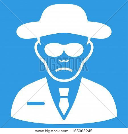 Security Agent vector icon. Flat white symbol. Pictogram is isolated on a blue background. Designed for web and software interfaces.
