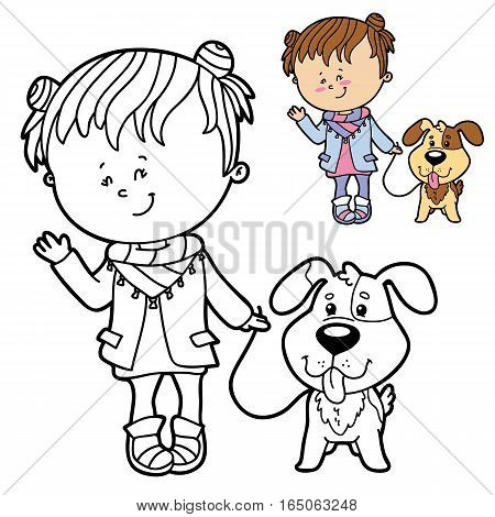 Vector illustration coloring page of happy cartoon girl and dog for children, coloring and scrap book