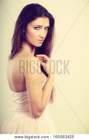 Brunette Woman In Bright Dress