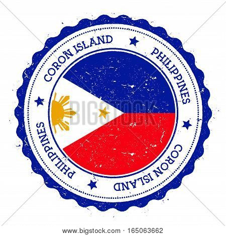 Coron Island Flag Badge. Vintage Travel Stamp With Circular Text, Stars And Island Flag Inside It. V