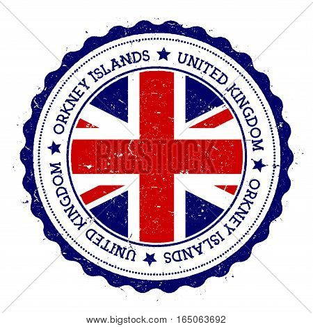 Orkney Islands Flag Badge. Vintage Travel Stamp With Circular Text, Stars And Island Flag Inside It.