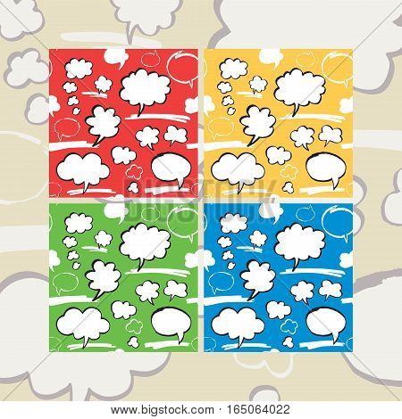 Set of seamless pattern with speech bubbles and thought clouds in cartoon style. Four color variants. Hand drawn by felt pen. Vector eps8 endless texture.