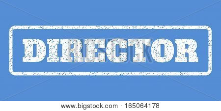 White rubber seal stamp with Director text. Vector caption inside rounded rectangular frame. Grunge design and dust texture for watermark labels. Horisontal sticker on a blue background.