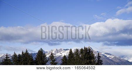 sky over italian Alps over Aprica Pass Italy