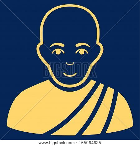 Buddhist Monk vector icon. Flat yellow symbol. Pictogram is isolated on a blue background. Designed for web and software interfaces.