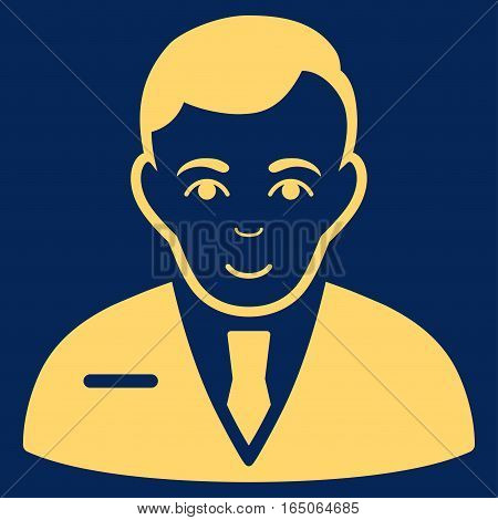 Businessman vector icon. Flat yellow symbol. Pictogram is isolated on a blue background. Designed for web and software interfaces.