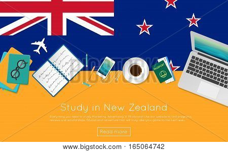 Study In New Zealand Concept For Your Web Banner Or Print Materials. Top View Of A Laptop, Books And