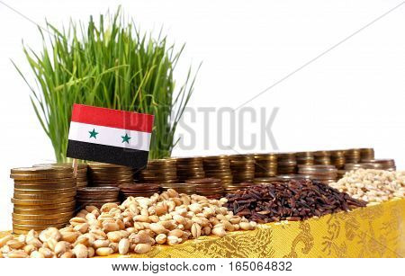 Syria Flag Waving With Stack Of Money Coins And Piles Of Wheat And Rice Seeds