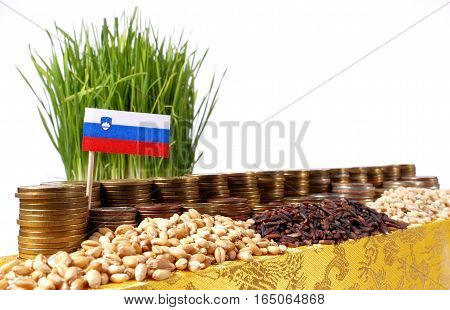 Slovenia Flag Waving With Stack Of Money Coins And Piles Of Wheat And Rice Seeds