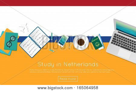 Study In Netherlands Concept For Your Web Banner Or Print Materials. Top View Of A Laptop, Books And