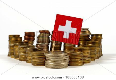 Switzerland Flag Waving With Stack Of Money Coins