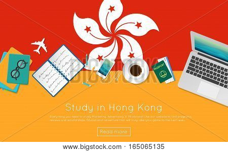 Study In Hong Kong Concept For Your Web Banner Or Print Materials. Top View Of A Laptop, Books And C