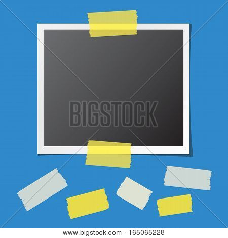Realistic photo card fixed on blue background and collection of sticky tape pieces. Paper frame template with blank space for your image. Detailed vector eps10 illustration with transparency.