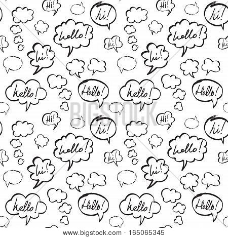 Hello and Hi phrases inside speech bubbles. Seamless pattern in black and white colors. Hand drawn by felt pen vector repeating background.