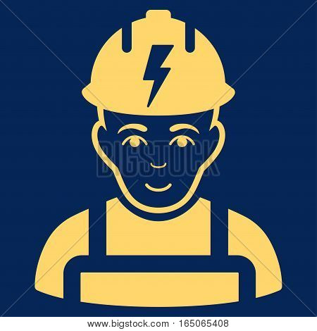 Electrician vector icon. Flat yellow symbol. Pictogram is isolated on a blue background. Designed for web and software interfaces.