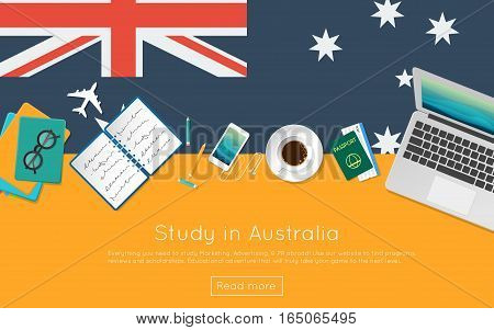 Study In Australia Concept For Your Web Banner Or Print Materials. Top View Of A Laptop, Books And C