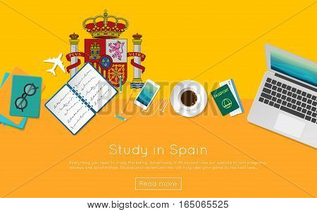 Study In Spain Concept For Your Web Banner Or Print Materials. Top View Of A Laptop, Books And Coffe