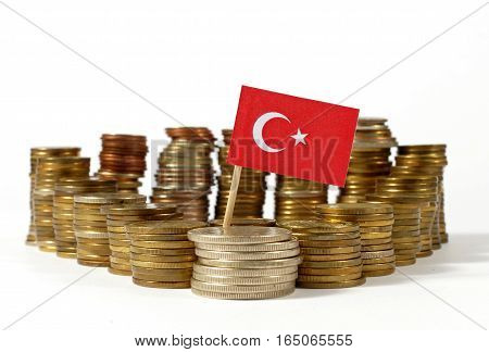 Turkey Flag Waving With Stack Of Money Coins