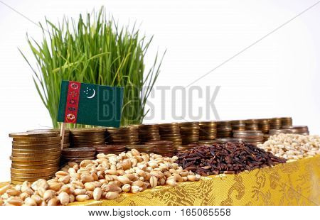 Turkmenistan Flag Waving With Stack Of Money Coins And Piles Of Wheat And Rice Seeds