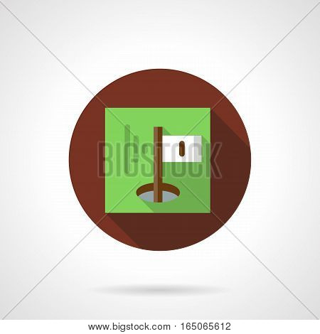 1st hole on golf course marked with white flag with number on a green. Button for a golfing field map. Sport and activity leisure. Round brown flat design vector icon.