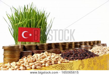 Turkey Flag Waving With Stack Of Money Coins And Piles Of Wheat And Rice Seeds
