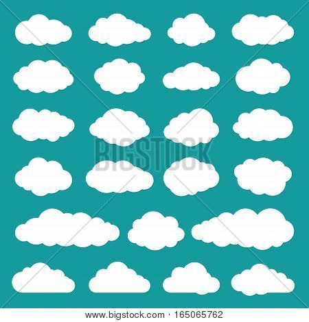 Cloud collection of twenty three flat icons. Set of cloudlet silhouette symbols. White sky clouds isolated on turquoise or greenish blue background. Vector illustration in EPS8 format.
