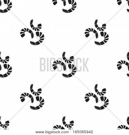 Shrimp icon in  black style isolated on white background. Sushi pattern vector illustration. - stock vector
