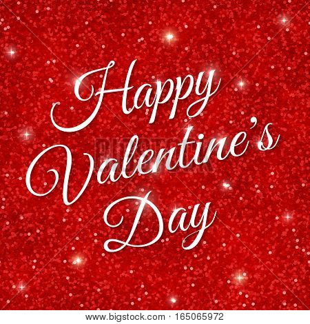 Happy Valentine's Day on red glitter background. Vector