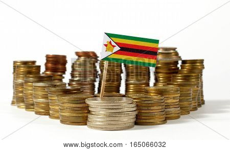 Zimbabwe Flag Waving With Stack Of Money Coins