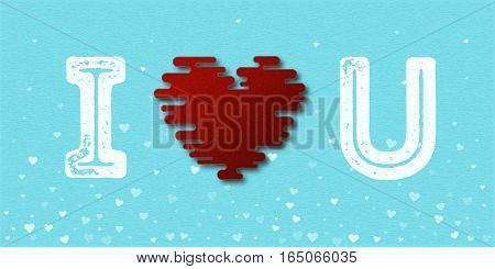 I Love You Textured Heart Card. Vector Illustration.