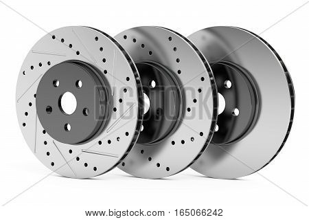 Car discs brake rotors drilled slotted non-drilled 3D rendering isolated on white background