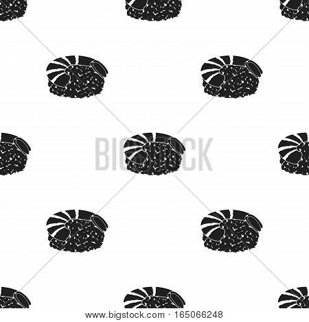 Ebi Nigiri icon in  black style isolated on white background. Sushi pattern vector illustration. - stock vector