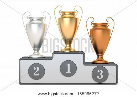 Golden silver and bronze trophy cups on pedestal 3D rendering isolated on white background
