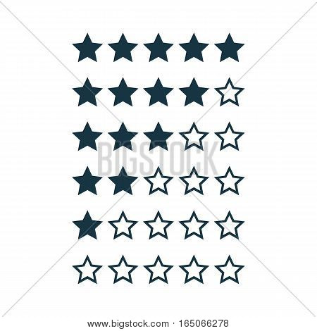 Stars rating design elements isolated on white. Kit of star shapes for ranking interface. Set of voting symbols from zero to five points. Vector illustration in flat style.