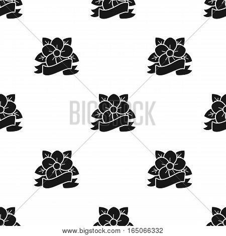 Flower tattoo emblem icon black. Single tattoo icon from the big studio black. - stock vector