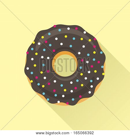 Donut flat style icon. Sweet sugar icing donut in the glaze with sprinkle topping of colorful beads on chocolate cream. Isolated eps8 vector illustration.