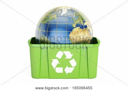 recycling bin with Earth 3D rendering isolated on white background