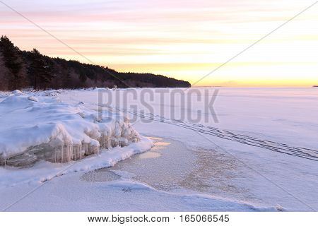 Frosty winter morning in the Northern Karelia, Russia