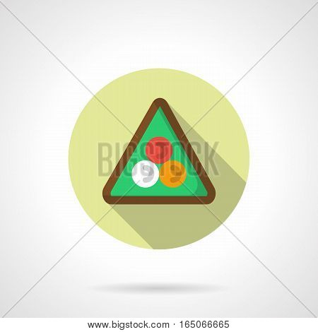 Equipment and accessories for billiards. Triangle wooden rack with three color balls for starting position in game. Sport and active leisure concept. Round flat design vector icon.