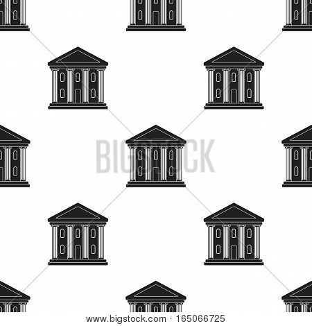 Theatre building icon in  black style isolated on white background. Theater pattern vector illustration