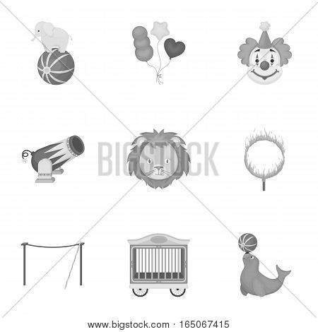 Circus set icons in monochrome style. Big collection of circus vector symbol stock