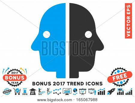 Blue And Gray Dual Face icon with bonus 2017 year trend design elements. Vector illustration style is flat iconic bicolor symbols white background.
