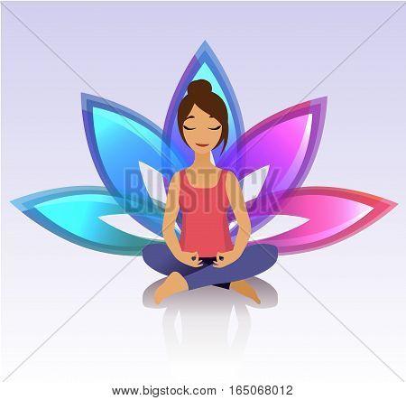 Yoga women. Yoga asana pose and healthy lifestyle on lotus background. Vector illustration