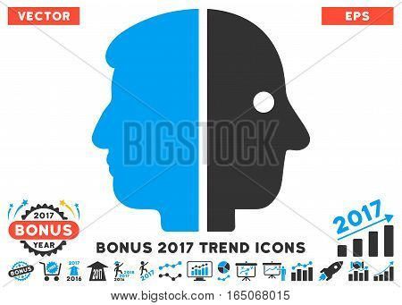 Blue And Gray Dual Face pictogram with bonus 2017 trend images. Vector illustration style is flat iconic bicolor symbols white background.