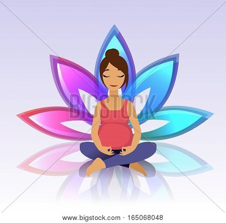Yoga for pregnant women. Yoga asana exercises and healthy lifestyle on lotus background. Vector illustration