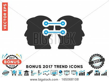 Blue And Gray Dual Heads Interface Connection icon with bonus 2017 trend pictograph collection. Vector illustration style is flat iconic bicolor symbols white background.