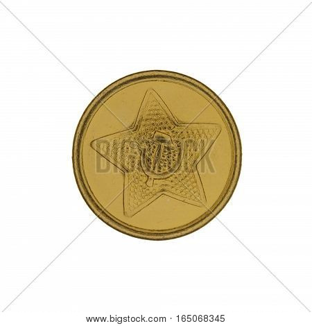 Old military buttons with Soviet symbols isolated on white background.